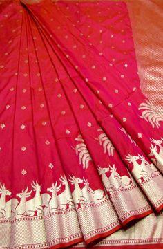 Pink Handloom Banarasi Georgette Silk Saree
