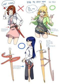 Manga Drawing Tips 이미지 Manga Drawing Tutorials, Drawing Techniques, Drawing Tips, Art Tutorials, Drawing Sketches, Drawings, Sword Drawing, Drawing Base, Drawing Swords