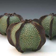 CONTAINERS / ARTIFACTS - Roberta Polfus - Carved porcelain urchin vessel glazed in green & brown These pods could be used as some kind of rejuvenation area to heal people from even the most fatal of injuries like the loss of limbs. Hand Built Pottery, Slab Pottery, Ceramic Pottery, Pottery Art, Pottery Sculpture, Thrown Pottery, Pottery Studio, Ceramic Clay, Ceramic Vase