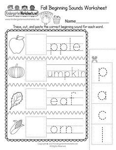 Fall Beginning Sounds Worksheet for Kindergarten - Free Printable, Digital, & PDF