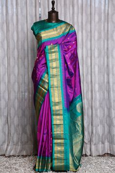 South Indian Wedding Saree, Indian Bridal Sarees, Bridal Silk Saree, Indian Bridal Outfits, Gold Silk Saree, Purple Saree, Green Saree, Wedding Saree Blouse Designs, Silk Saree Blouse Designs