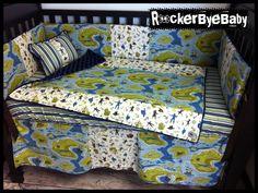 CUSTOM punk baby 4 piece MIXED PRINTS crib by RockerByeBaby, $325.00