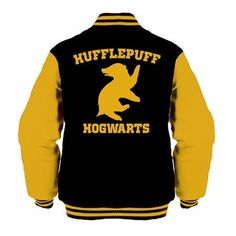 Hufflepuff Hogwarts unisex varsity jacket Harry Potter ❤ liked on Polyvore featuring outerwear, jackets, teddy jacket, unisex jackets, varsity jacket, college jacket and letterman jackets