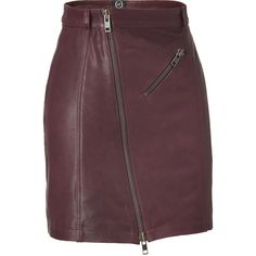 MCQ ALEXANDER MCQUEEN Oxblood Zip Leather Pencil Skirt ($925) ❤ liked on Polyvore