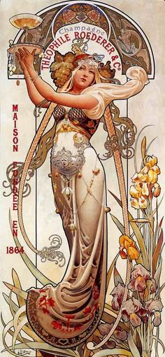 """by Louis Théophile Hingre ~ Born November 19, 1932 predating Mucha by 28yrs who was born July 24, 1860. Most of his work was done while Mucha was still an infant which makes him the true father of Art Nouveau (even though Mucha popularized it). ~ M.S.M. Gish ~ Click through the large version for a full-screen view (with a black background in Firefox). Set your computer for full-screen. ~ Miks' Pics """"Alphonse Mucha"""" board @ http://www.pinterest.com/msmgish/alphonse-mucha/"""