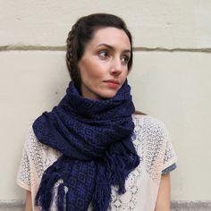 Foulard-Pashmina / Violeta-Negro