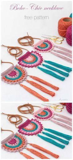 Boho-Chic Necklace Crochet Free Pattern - Crochet & Knitting - Stricken ist so e. Boho-Chic Necklace Crochet Free Pattern – Crochet & Knitting – Stricken ist so einfach wie 2 Crochet Necklace Pattern, Crochet Jewelry Patterns, Knitting Patterns, Free Knitting, Knitted Necklace, Crochet Jewellery, Jewellery Box, Crochet Accessories Free Pattern, Knitted Jewelry