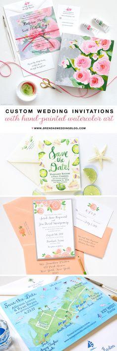 Mospens Studio : Custom Wedding Invitations with Hand-Painted Watercolor Art
