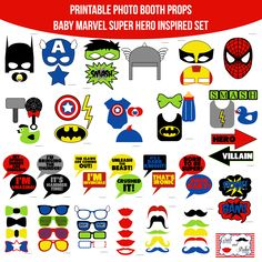 bay shower - Amanda Keyt DIY Photo Booth Props & More! Marvel Baby Shower, Baby Marvel, Superhero Baby Shower, Baby Avengers, Superhero Birthday Party, Baby Boy Shower, Super Hero Day, Marvel Photo, Diy Photo Booth Props