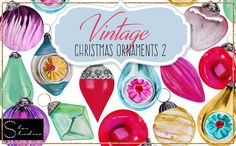 Vintage Christmas Ornaments 2 pack by Star Studios on Creative Market