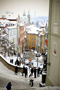 Nerudova street in winter, Prague, Czechia Places Around The World, The Places Youll Go, Places To Visit, Prague Christmas, Prague Winter, Prague Travel, Prague Czech Republic, Central Europe, Most Beautiful Cities