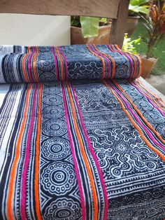 Handwoven Hmong cotton, Vintage fabric Indigo textiles and fabrics- from…