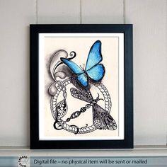 Printable Art. Hand Painting Wall decor. Butterfly, dragonfly, mandala floral ornament. 42x30 cm. Kids Room Wall Decor. Nursery art. Zen art