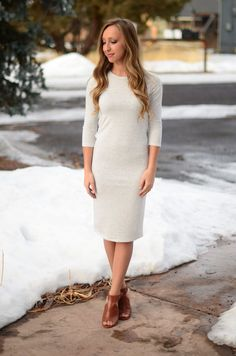 A sweater dress goes with everything and is perfect for every event! Pair with everything from sneakers to heels and feel amazing and comfy! This dress is ultra soft and easy to wear. It has 3/4 lengt