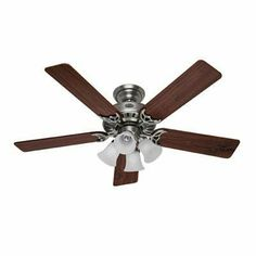 """52"""" Studio Pewter Ceiling Fan by Hunter Fan Company. $147.58. 52"""" Studio Pewter Ceiling FanHunter Studio Series 52"""" Ceiling Fan - Antique pewter w/ five Dark Walnut/Light Cherry blades - WhisperWind motor; AVT hanging system; three position mounting system; uses four 60w candelabra bulbs (included); can be installed without light kit; limited lifetime warranty***This item is expected to deliver in 4-10 business days. Tracking information is usually sent within 3-5..."""