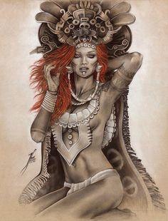 LA REINA ROJA  RED QUEEN  #artoftehanifarr #tehanifarr #Farrillustration #fantasyart #warrior #illustration #art #drawing #prismacolor #realisticdrawing #maya #reypakal #mexicoprehispanico #mayan #redhead