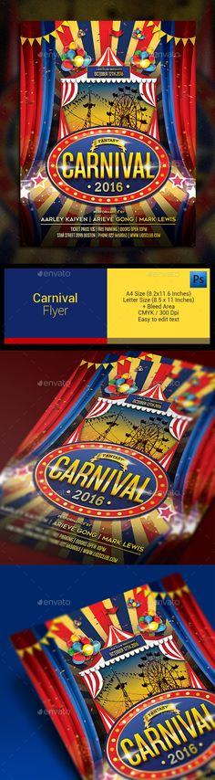 Carnival Flyer Template PSD #design Download: http://graphicriver.net/item/carnival-flyer/13289807?ref=ksioks
