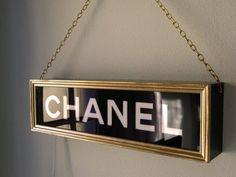 This wooden light box is modelled on a vintage Chanel light box of the type used in department stores. Hand crafted using a combination of stencils and hand painting. It transforms any room with a be Diy Room Decor, Bedroom Decor, Bedroom Ideas, Home Decor, Chanel Bedroom, Cuadros Diy, Chanel Decor, Chanel Sign, Glam Room