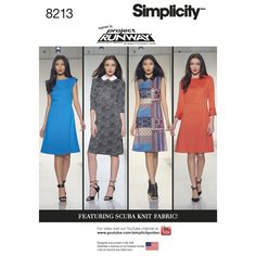 These Inspired by Project Runway dresses are designed to work with fashion's hottest fabric--scuba knit. Dress can be made with or without a collar. Neckline on collarless version is boat neck. Sleeve options are sleeveless with optional cap and tabs or half sleeves with optional ruffle. Optional asymmetric skirt front featured on view B. Simplicity sewing pattern.