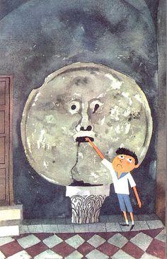 """Bocca della veritá - Encaixada nun dos muros da igrexa de Santa María in Cosmedin atópase a """"Boca da verdade"""", unha máscara de mármore representando a Oceanus ou a Medusa que puido ser a boca dun sumidoiro da Cloaca Maxima, anterior ó s. IV a.C. A tradición medieval di que aquela persoa que introduza a man na Bocca e diga unha mentira será mordido por esta (un truco moi útil para probar ós conxuxes infieis)."""