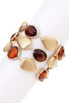 18K Gold Clad 3-Row Faceted Amber Citrine Crystal, Smokey Crystal & Satin Pebble Toggle Bracelet by Rivka Friedman on @HauteLook
