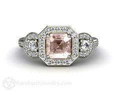 Pink Morganite Engagement Ring Emerald Diamond Halo by RareEarth