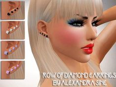 Alexandra_Sine's Row of Diamond Earrings #sims3