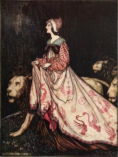 "From 'The Lady and the Lion'. ""Grimm's Fairy Tales"" illustrated by Arthur Rackham, 1909"