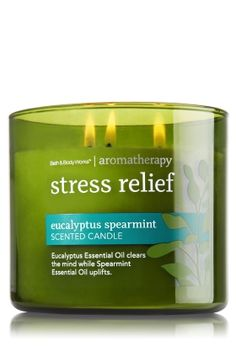 """Eucalyptus Spearmint - 3-Wick Candle - Aromatherapy - Bath & Body Works - The world's best candle guaranteed! Made using the highest concentration of fragrance oils and an exclusive blend of vegetable wax and lead-free wicks, the wax melts consistently & evenly, radiating enough fragrance to fill an entire room. Our 3-Wick Candle burns approximately 25 - 45 hours and measures 4"""" wide x 3 1/2"""" tall."""