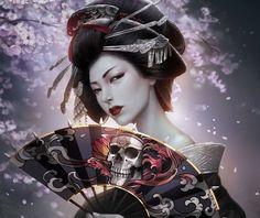 арт, девушка, веер, заколки, кимоно, гейша, череп, reborn, kagero, сакура, причёска: