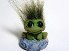 "OOAK Baby Frog Goblin Trollfling Troll ""Richie"" by Amber Matthies. $20.00, via Etsy.  Looks like a '60's troll!  So cute!"