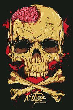 Right Side Brain - Ten Magat by Timothy Magat, via Behance Illustration Main, Skull Illustration, Wallpaper Caveira, Images Graffiti, Arte Ninja, Totenkopf Tattoos, Skeleton Art, Skeleton Bones, Skull Art