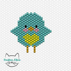 Coucou les piou piou! Voici le diagramme de la petite mésange. Si vous préférez le poussin, il suffit de ne pas faire le coeur... #jenfiledesperlesetjassume #miyukibeads #miyuki #perleaddict #perlesmiyuki #diagrammeperles #beadwork #beadpattern #motifpauline_eline #brickstitch #oiseau #bird