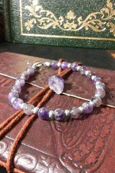 silver-amethyst-bracelet #bracelets #silver #amethyst #purple #beads