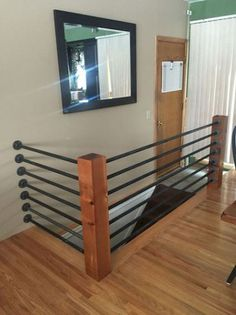 Stairs Barrier Ideas Stair railings serve greater than a practical function– they provide staircases an aesthetic visibility and also make a stairs a masterpiece. Check out these step railing… Loft Railing, Pipe Railing, Staircase Railings, Railing Design, Banisters, Stairways, Banister Ideas, Diy Stair Railing, Diy Interior Railing