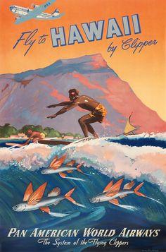 Beautiful Retro Poster Design Ideas www.designlisticl… Schöne Retro Plakat-Design-Ideen www. Fly To Hawaii, Hawaii Surf, Honolulu Hawaii, Hawaii Travel, Oahu, Hawaiian Art, Vintage Hawaiian, Hawaiian Punch, Vintage Travel Posters
