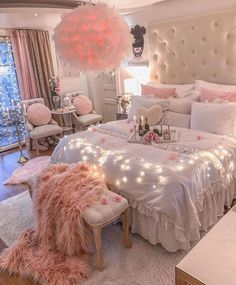 Bedroom Decor For Teen Girls, Cute Bedroom Ideas, Cute Room Decor, Girl Bedroom Designs, Room Ideas Bedroom, Girly Bedroom Decor, Pink Bedroom Design, Rose Bedroom, Master Bedroom