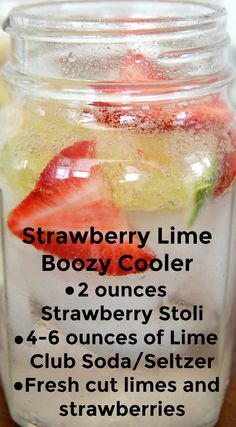Strawberry Lime Boozy Cooler ~ A low calorie, refreshing cocktail. Perfect drink for summer sipping - you'll love the flavor!