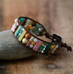 Unique Handmade Tube Shaped Boho Jasper Leather Wrap Bracelet