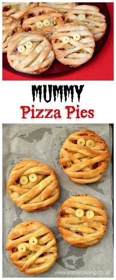 Easy Mummy Puff Pastry Pizza Pies recipe - fun Halloween food for kids - perfect. , halloween illustration fun Easy Mummy Puff Pastry Pizza Pies recipe - fun Halloween food for kids - perfect. Postres Halloween, Dessert Halloween, Halloween Dinner, Halloween Food For Party, Halloween Halloween, Halloween Pizza, Easy Halloween Snacks, Halloween Food Recipes, Halloween Buffet