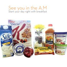 Start your day right with breakfast!  All food items shown can be found in any of the Kent State Campus Markets. Quaker Real Medleys oatmeal, Mighty Mango Naked Juice, Nature Valley granola bars, Chobani Greek Yogurt, Kellogg's Special K cereal, Silk Soymilk & an apple (one a day keeps the doctor away!)