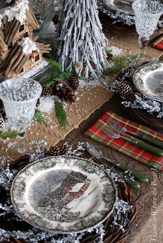 15 Traditional Red Christmas Tablescape Ideas…And the Winner Is! - Cindy Hattersley Design A Friendly and Snowy Village @ Home is Where the Boat Is Tartan Christmas, Christmas China, Christmas Dishes, Plaid Christmas, Country Christmas, All Things Christmas, Christmas Holidays, Nordic Christmas, Modern Christmas