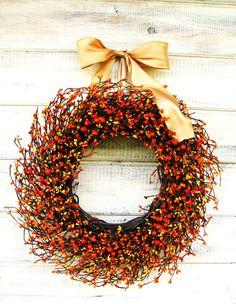 Fall Wreath-Autumn Door Decor-Berry Wreath-BURNT ORANGE & GOLDEN Yellow Wreath- Orange Wreath-Scented Wreaths-Custom Choose Scent and Ribbon by WildRidgeDesign on Etsy https://www.etsy.com/listing/84906087/fall-wreath-autumn-door-decor-berry