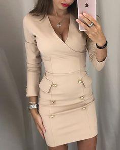 Button Design V-Neck Wrap Bodycon Dress for First Order - dresses - Graduation Dress Tight Dresses, Short Dresses, Dresses For Work, Prom Dresses, Midi Dresses, Dress Prom, Dress Wedding, Bridesmaid Dress, Formal Dresses