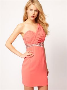 One Shoulder Ruched Bodice Beaded Short Chiffon Prom Dress PD1768 www.simpledresses.co.uk £79.0000
