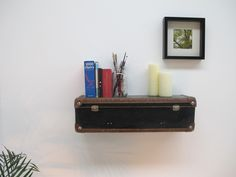 Vintage Suitcase Shelf / Shelves Black and Brown by SeTwoShop Floating Nightstand, Floating Shelves, Suitcase Shelves, What To Use, Vintage Suitcases, Forced Labor, Helping Other People, Retro, Black And Brown