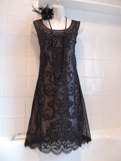 RISE Vintage 1920s Sequin Deco Beaded Flapper Charleston Gatsby Downton Dress 16 in Vêtements, accessoires, Femmes: vêtements, Robes | eBay