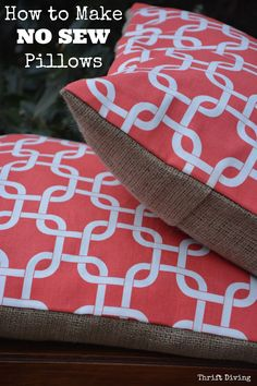 No sewing machine? No problem! This tutorial shows you how to make DIY no sew pillows using Heat n' Bond. Save money--recycle old pillows as the inserts!