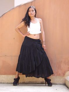 Boho Wrap Skirt ....Color Black by Ablaa on Etsy, $27.00