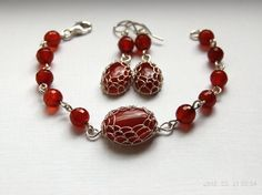 Handmade wire wrapped and wire netted carnelian by WireFantasies